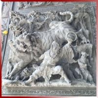 天然青石加工人物浮雕壁画 伏虎罗汉降龙罗汉典故浮雕