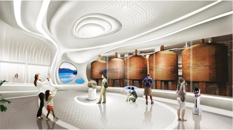 千島湖啤酒體驗館GRG材料吊頂,幕墻,裝飾柱、吧臺項目