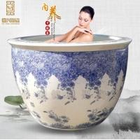 定做1.2米青花陶瓷大缸温泉洗浴缸陶瓷泡澡缸