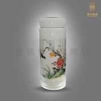 景德镇陶瓷双层保温杯 青花瓷保温杯 陶瓷贴金保温杯