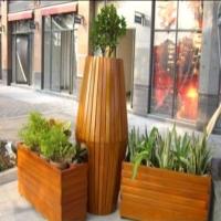 玻璃钢花盆街边钢木花盆