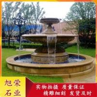 石雕喷泉 花岗岩黄锈石水钵雕塑小区水景装饰