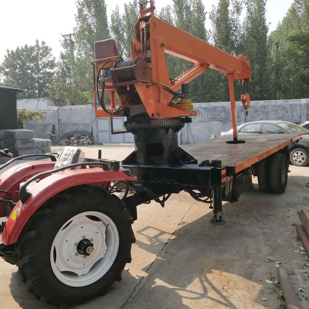 拖拉平板隨車吊 5噸帶自卸農用吊電線桿起重機-- 時興