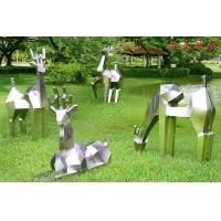 不锈钢几何鹿雕塑户外铁艺抽象金属仿真鹿小鹿动物景观摆件