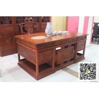 2米花梨木办公桌-雕图案办公桌-红木办公桌价格