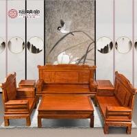 檀明宫红木家具紫檀花梨沙发六件套实木沙发组合
