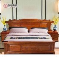 檀明宫红木家具刺猬紫檀床中式1.8米大床