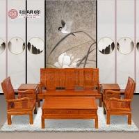 檀明宫红木家具紫檀花梨木万字沙发茶几六件套组合