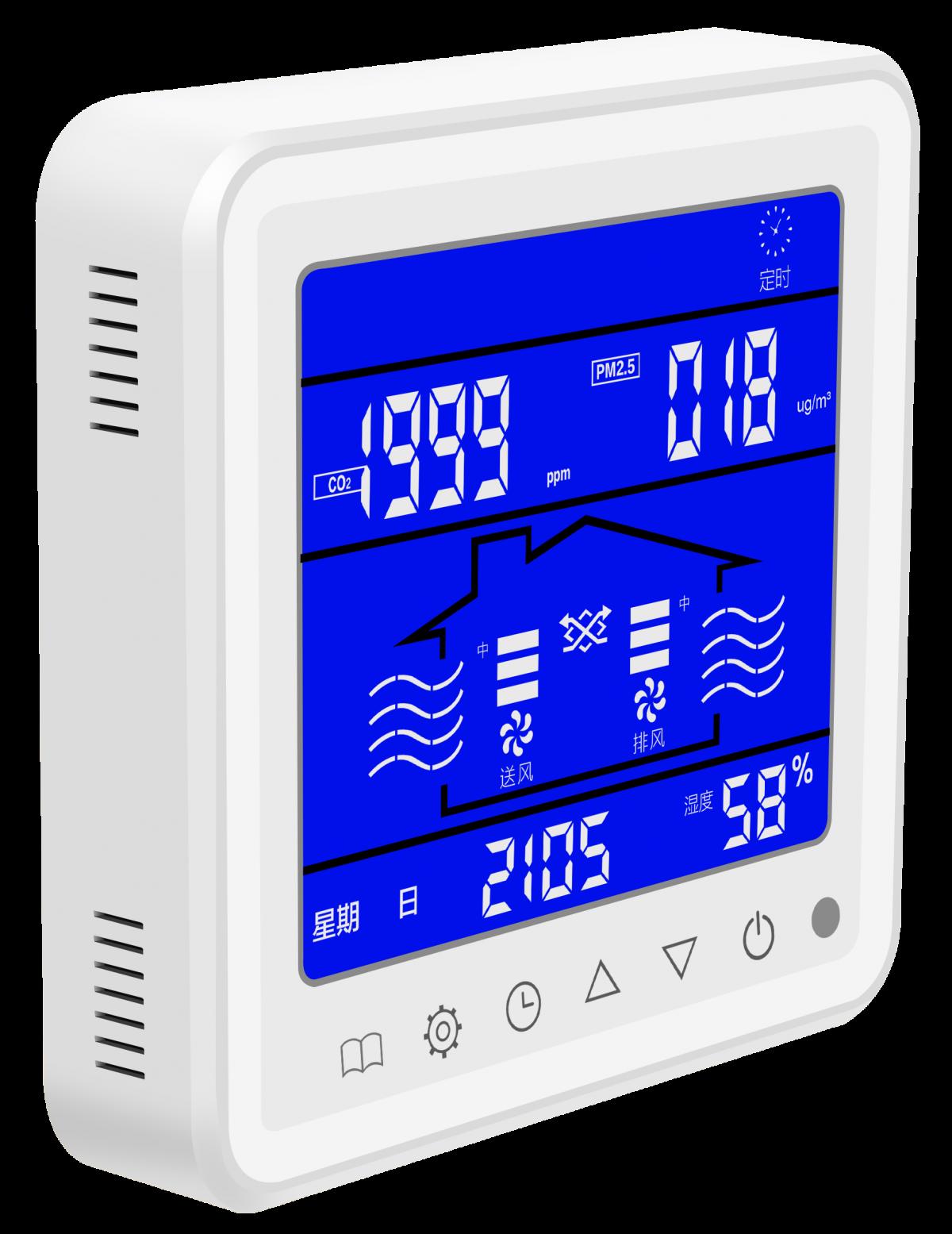 KF-600E新風智能控制器大屏顯示五合一液晶開關面板