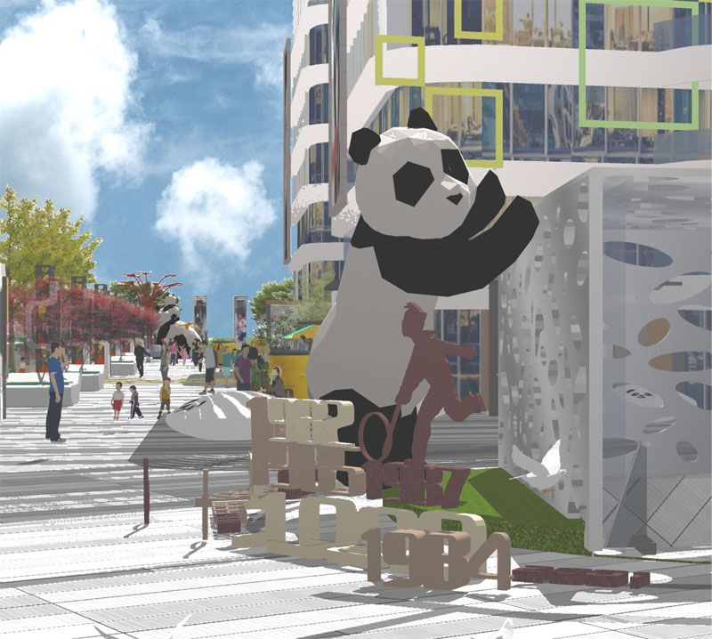 贵州地产雕塑/商业街雕塑/熊猫雕塑