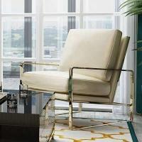 后现代轻奢沙发椅港式不锈钢镀金单人沙发椅