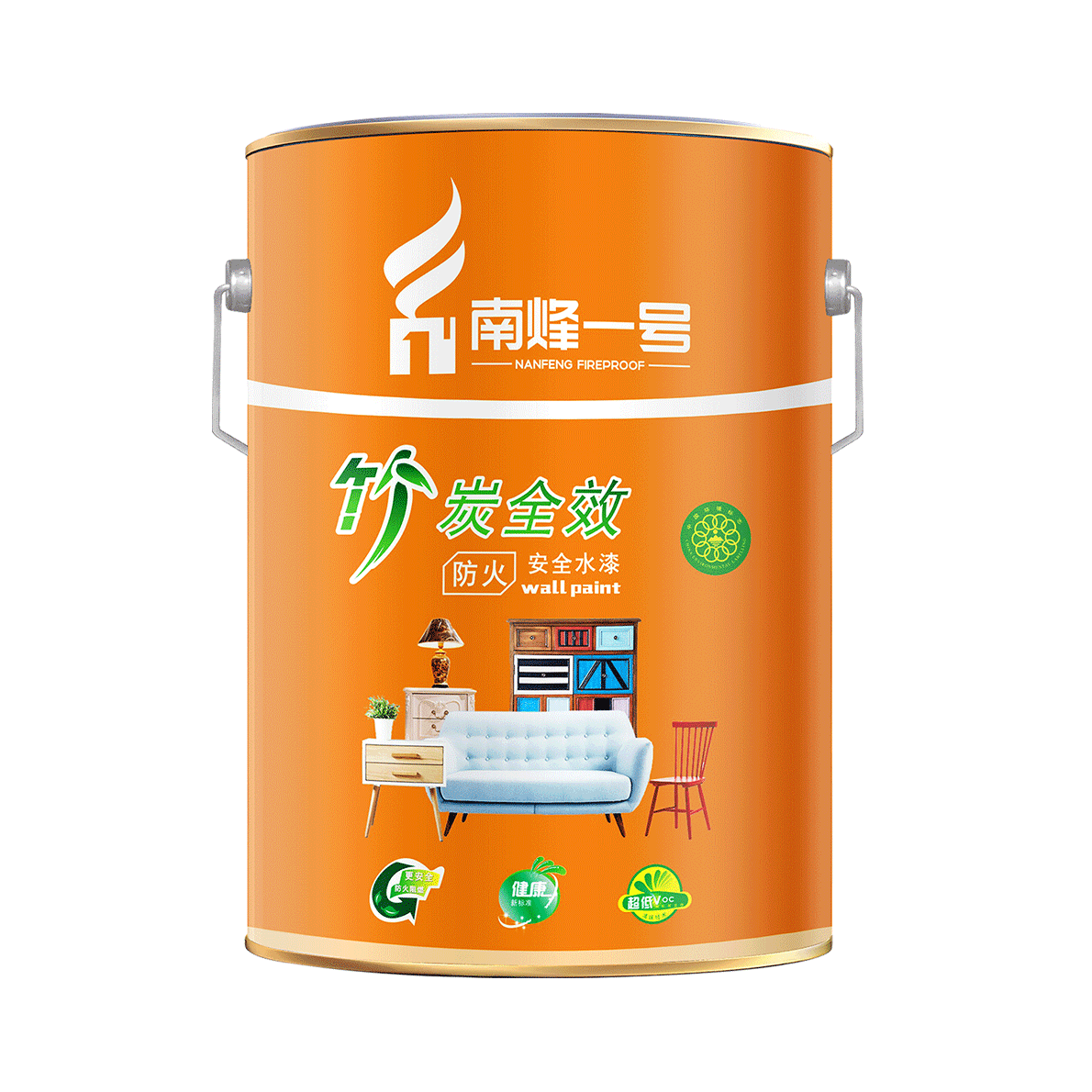 南烽一號品牌竹炭安全水漆面漆防火涂料油漆乳膠漆