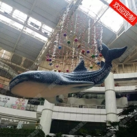 定制商场中庭雕塑泡沫大鲸鲨挂件酒店海洋主题场景装饰玻璃钢摆件