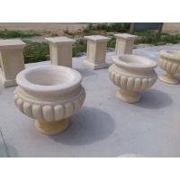 深圳石材石制品加工厂 深圳欧式石雕花钵 黄锈石花盆雕刻