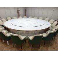 西双版纳中式电动圆桌 实木电动餐桌 餐厅电动餐台餐椅