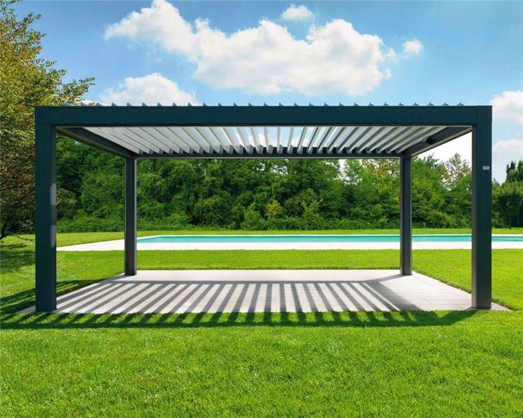 铝合金电动百叶凉亭 遮阳挡雨翻板凉亭 户外庭院百叶顶棚设计