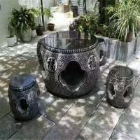 定制花岗岩石凳石桌 户外小区石凳石桌 异形石材定制