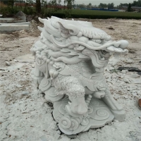专业供应青石花岗岩晚霞红石雕动物像 一对石狮子