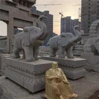 汉白玉大象一对石象采用石雕现货门口摆放青石大象