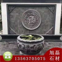 石雕鱼缸青石仿古庭院家用圆缸养鱼水槽摆件花盆