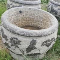 加工定制青石古石缸老旧石槽流水摆件石头鱼缸荷花盆