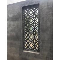 石雕窗花青石镂空浮雕仿古围墙格子扇形石窗