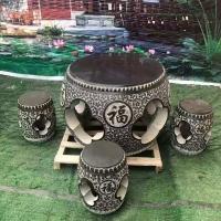 石雕圓桌 仿古石桌石凳 公園休閑石頭桌子椅子