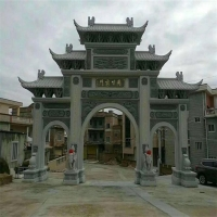 石雕牌坊牌楼 青石汉白玉门楼 中式石拱门定做