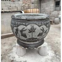 石雕仿古鱼缸造景景观鱼池摆件室外荷花盆青石缸