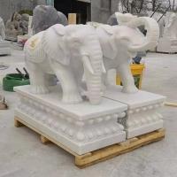 石雕大象汉白玉石象 公园别墅门口摆件石大象一对价格