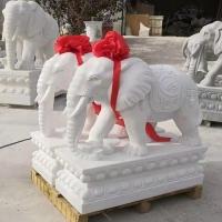 加工定制石象 漢白玉石雕大象一對價格