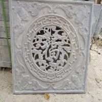 雕刻中式镂空石窗 石雕窗花 青石花格窗棂