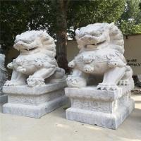 石雕大型石狮子 大理石汉白玉石狮子一对价格