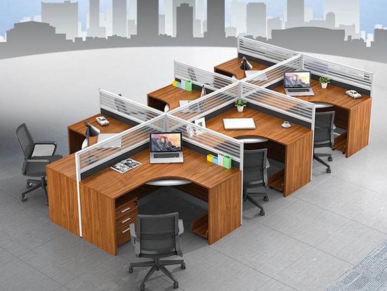 办公桌职员4人位办公桌四人位员工卡座工位桌屏风隔断桌办公家具