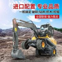 中型輪式挖掘機工程抓挖兩用農用建筑鉤機輪胎式液壓挖土抓木機