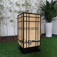 现代中式柱头灯地产景观灯箱特色方形落地灯不锈钢防水立柱灯