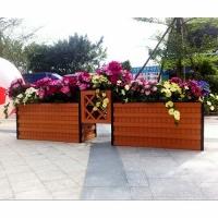 防腐木組合花箱戶外不銹鋼種植箱實木花池花壇花槽售樓部高低花箱