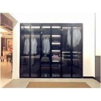 藍蓮全屋定制極簡玻璃平開門現代衣柜