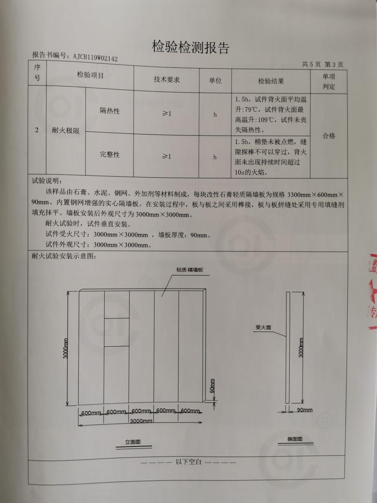 石膏轻质隔墙板隔音耐火性能检验报告4