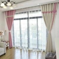 现代简约素色5 7 9米成品素色窗帘