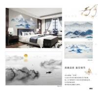 中式风格水墨电视 沙发 餐厅 卧室背景定制