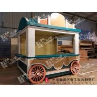 户外防腐木售货车实木售货亭奶茶推车木质贩卖车小吃推车移动木屋