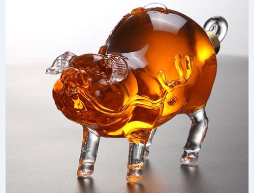 玻璃工艺酒瓶 猪猪型空心酒瓶 十二生肖精美摆件