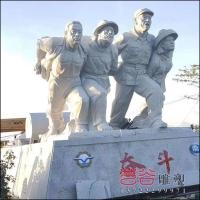 石雕奋斗人物雕像安装于海南莺歌海
