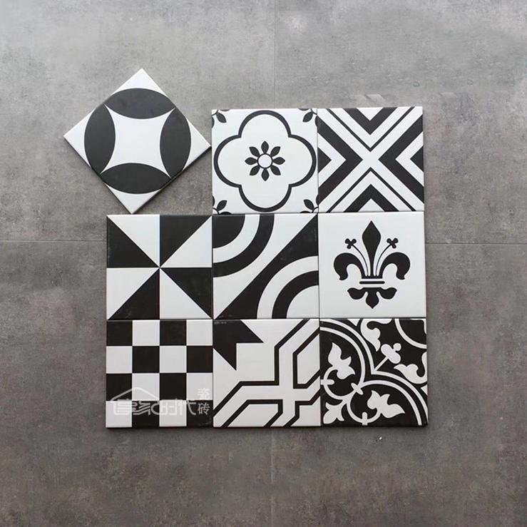 北欧黑白花砖200x200哑光瓷砖混拼仿古砖