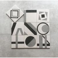 黑白灰几何图案花砖200*200水泥仿古砖洗手间浴室地板砖