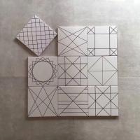 黑色几何线条20x20cm白色花砖,仿古瓷砖厨卫亚光墙地砖