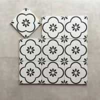 花朵图案20*20cm简约黑白花砖,无限拼接亚面地砖厨房墙砖