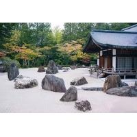 河源日式枯山水黑山石庭院装修批发