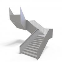 简约栅栏扶手设计大型钢结构预制楼梯
